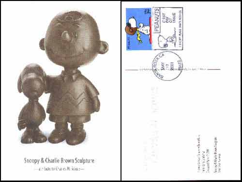 Image for COMMEMORATIVE SNOOPY STAMP ON CHARLIE BROWN POSTCARD - LIMITED ISSUE