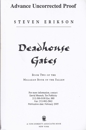 Image for DEADHOUSE GATES: BOOK TWO OF THE MALAZAN BOOK OF THE FALLEN (SIGNED ARC)